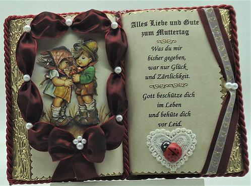 Wunderschönes, handgefertigtes Muttertags-Dekobuch mit Holzbuchständer