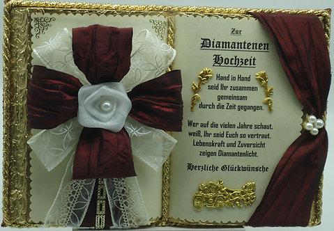 Deko-Buch Diamantene Hochzeit (mit Holz-Buchständer)
