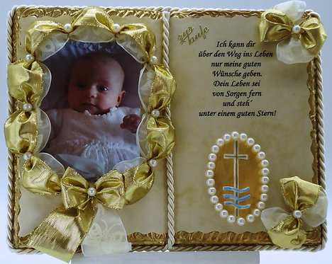 Deko-Buch zur Taufe für Foto (mit Holz-Buchständer)