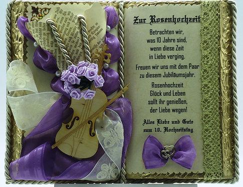 Deko-Buch Rosenhochzeit (mit Holz-Buchständer)