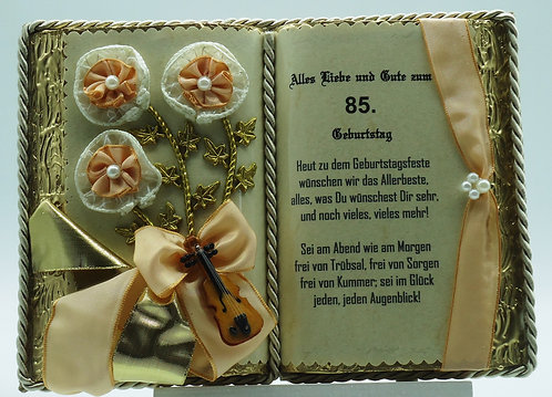 Deko-Buch 85. Geburtstag (mit Holz-Buchständer)