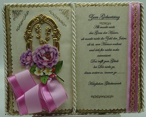 Wunderschönes Deko-Buch zum Geburtstag (mit Holz-Buchständer) (Einzelstück)