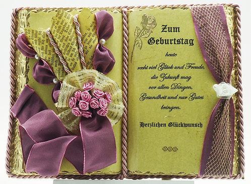 Deko-Buch Geburtstag (mit Holz-Buchständer)