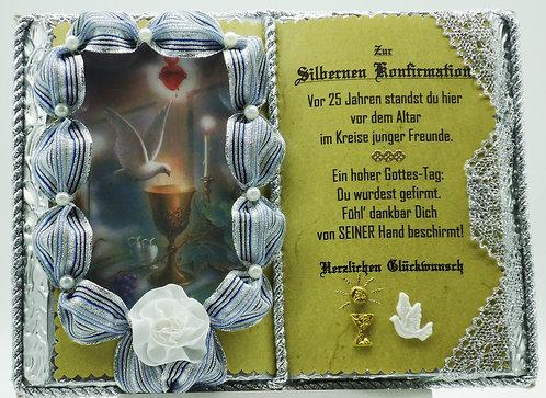 Silberne Konfirmation, 25-jähriges Firmjubiläum-Dekobuch (mit Holz-Buchständer