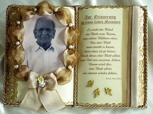 Deko-Buch Trauer für Foto (mit Holz-Buchständer)