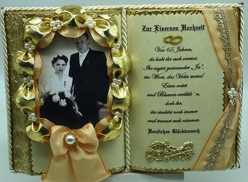 Eiserne Hochzeit-65-jähriges Ehejubiläum-Dekobuch für Foto mit Holz-Buchständer