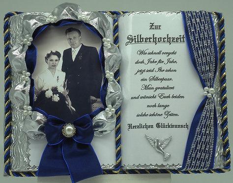Deko-Buch Silberhochzeit für Foto (mit Holz-Buchständer)