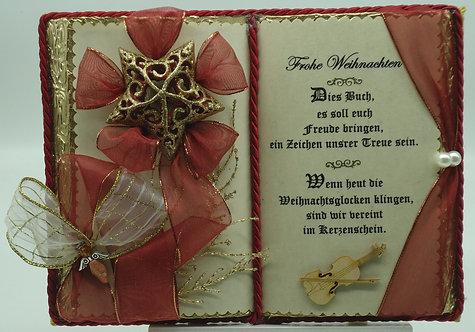 Stimmungsvolles Weihnachts-Dekobuch mit Holz-Buchständer