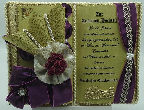 Deko-Buch Eiserne Hochzeit (mit Holz-Buchständer)