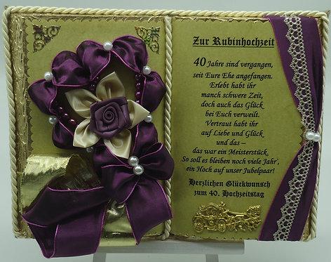Rubinhochzeit - 40-jähriges Ehejubiläum - Dekobuch (mit Holz-Buchständer)