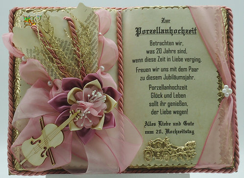 Dekobuch zur Porzellanhochzeit (mit Holzbuchständer)