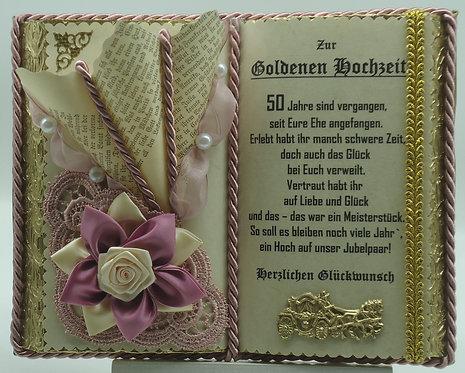Deko-Buch zur Goldene Hochzeit (mit Holz-Buchständer)