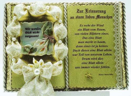 Deko-Buch Trauer (mit Holz-Buchständer