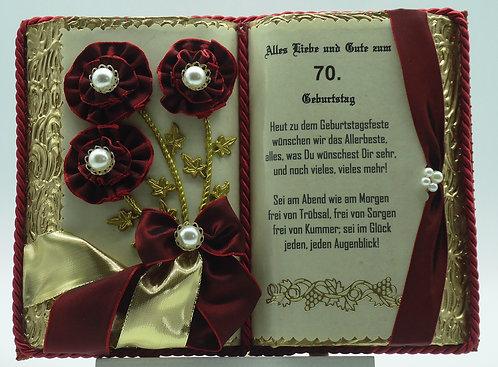Deko-Buch 70. Geburtstag (mit Holz-Buchständer)
