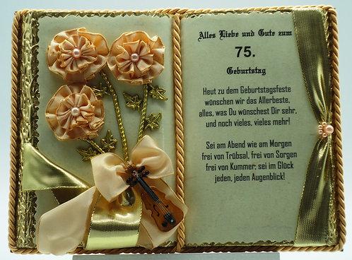 Deko-Buch 75. Geburtstag (mit Holz-Buchständer)