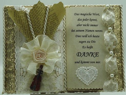 Dankeschön-Buch mit Holzbuchständer