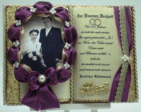 Deko-Buch zur Eisernen Hochzeit für Foto (mit Holz-Buchständer)