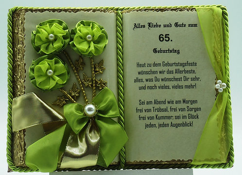 Deko-Buch 65. Geburtstag (mit Holz-Buchständer)