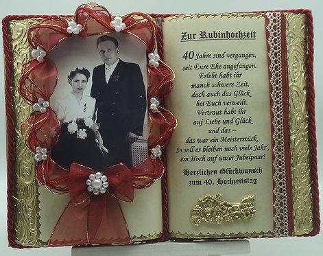 Deko-Buch Rubinhochzeit für Foto – 40. Hochzeitstag