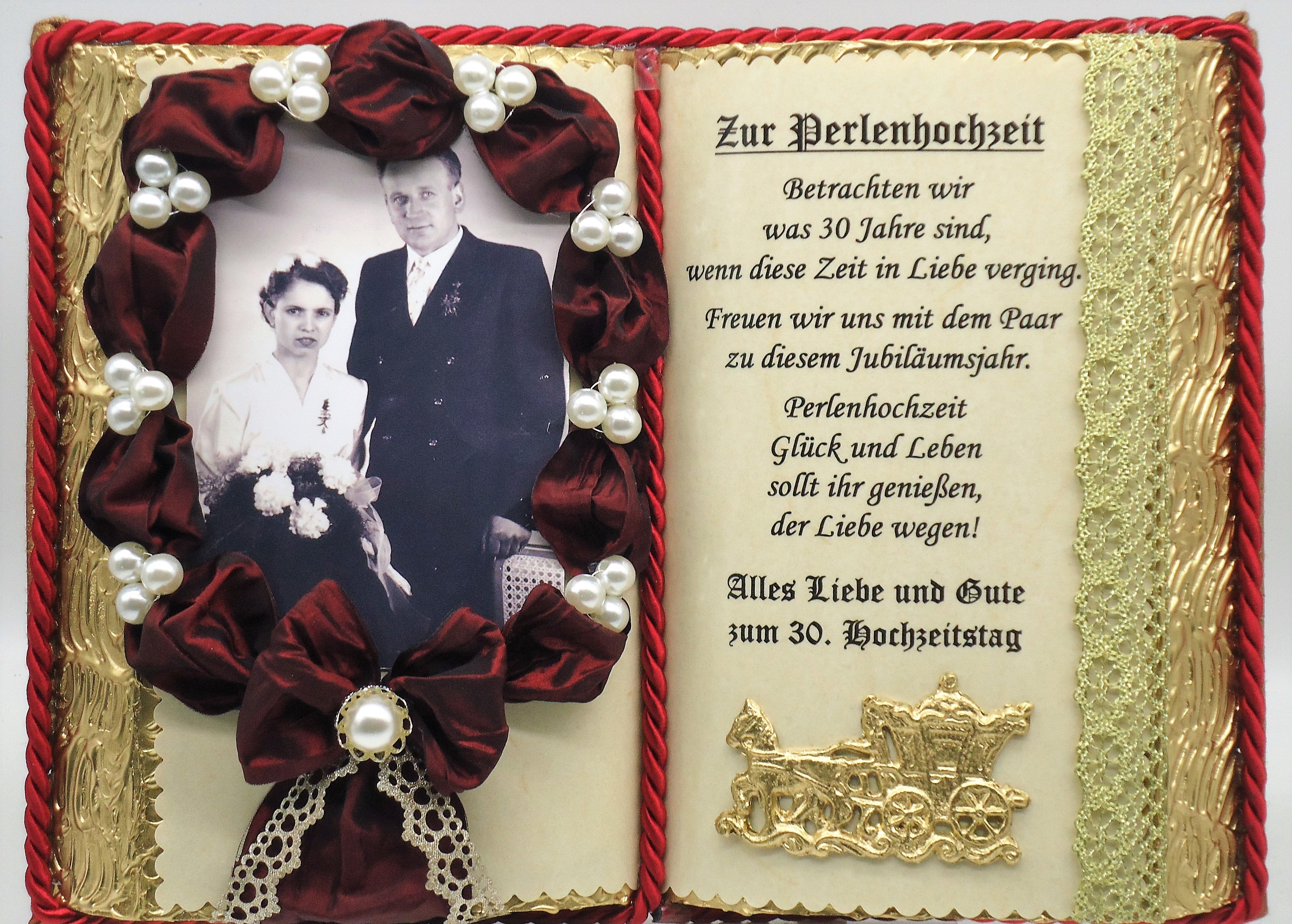 Deko Buch Perlenhochzeit Fur Foto 30 Hochzeitstag Mit Holz
