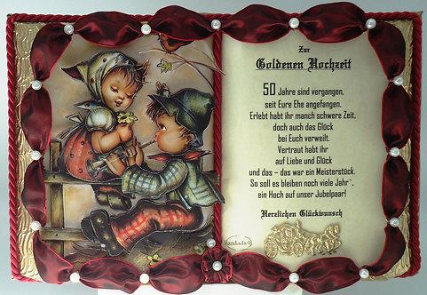 Deko-Buch Goldene Hochzeit (mit Holz-Buchständer)