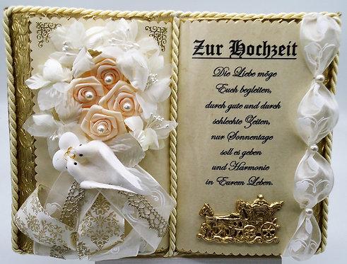Deko-Buch zur Hochzeit (mit Holz-Buchständer)