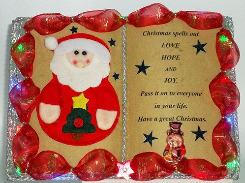 Weihnachts-Dekobuch mit Beleuchtung und Holz-Buchständer