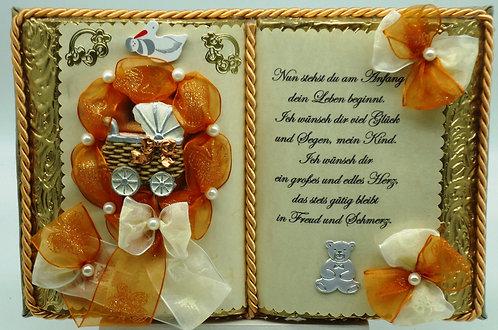 Dekobuch zur Taufe/Geburt - mit Holz-Buchständer