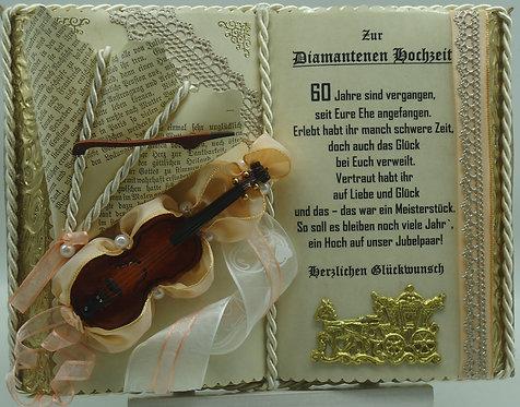 Diamantene Hochzeit -60-jähriges Ehejubiläum- Dekobuch (mit Holz-Buchständer)