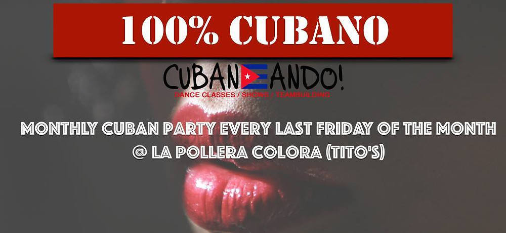 "Friday 12th August Cubaneando Salsa Classes will be hosting a 100% Cuban Party featuring DJ Dr Jim playing a selection of premium quality Afro-Cuban salsa, timba & son.  ➤ Main Room: Cuban Music from 9:30-10:30pm followed by the best Salsa, Merengue & Bachata by DJ Fercho ""KB-Son"".  ➤ Room 2: 100% Cuban Music by Dr Jim Layne from 10:30pm to 3am!  Club-only entrance is just £5!  The evening kicks-off with our regular Cuban Salsa Classes: 3 levels of classes with Osmel Barreto, Alejandro Ali & Esther Alvero ➤ 7.00 - 8.00pm (Beginners 1, Improvers & Intermediates) ➤ 8.15 - 9.15pm (Beginners 2, Improvers 2, Advanced)  Price: £8 for one class £12 for two. (£2 off with SU cards) Club Entry: 9.30pm-3am £5 (no free club entry before 8:30pm on our monthly parties).  La Pollera Colora Latin Nightclub - Tito's Peruvian Restaurant 4 - 6 London Bridge Street - London - SE1 9SG -"