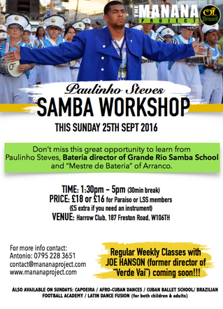 Samba Workshop this Sunday 25th Sept