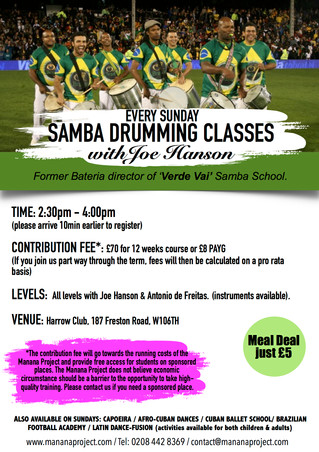 Samba Drumming -Every Sunday