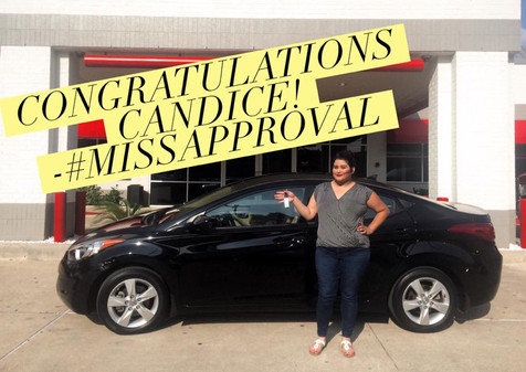 🎉 Shout out to the lovely, Candice, for allowing me to help her upgrade her '98 Camry for a 2013 Hyundai Elantra! 🎉  📲 Call OR text #MissApproval to discuss your needs and allow me to show you how easy it is to drive off in your new vehicle, TODAY!