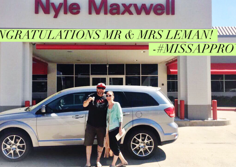 "✨🎉 CONGRATULATIONS TO MR & MRS LEMAN ON THEIR 2016 #DODGEJOURNEY R/T! 🎉 ✨  When I found Mr. & Mrs. Leman wandering our lot they were looking at vehicles with OVER 100,000 miles thinking it would help them get to their budget.  After talking for a moment about their needs and wishes for the new vehicle, I was able to find the PERFECT vehicle!  Who knew that you could end up with a 2016 (EEK!) that INCLUDES a LIFETIME WARRANTY and still have LOW PAYMENTS?!  Only in this CRAZY WORLD at @Nyle Maxwell Supercenter! If you are thinking of purchasing a new (or ""new to you"") vehicle, allow me to find you the right vehicle!"