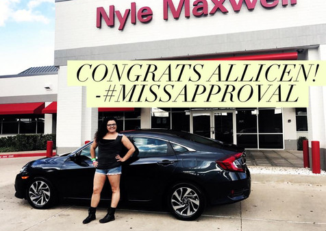 ✨🎉✨ SHOUT OUT TO THIS GORGEOUS GAL, Allicen, ON HER NEW 2016 HONDA CIVIC! ✨🎉✨  Allicen was involved in a wreck that TOTALED OUT her last car and she had an unpaid balance left over after the crazy process between insurance, the adjusters, and the rest of the process. 😩  If you've never been through it, know this: Finding a dealership that has the #CONNECTIONS that can help you get from under a loan deficit is TOUGH!  I am so happy to report that not ONLY did we cut a check for the difference her insurance did not cover, we found a vehicle that SHE LOVES! 🙌🏽  #whambam thank you ma'am! Come see #MissApproval and let me show you how easy it is for us to help you in a situation other dealers claim is IMPOSSIBLE.
