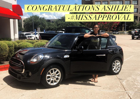 🎊 I would like to take a moment to congratulate Ashlie on trading in her 2002 Volkswagen Beetle for her new 2015 Mini Cooper!!! 🎊  I am beyond honored that she was referred to me! 🤗  Call, text or message #MissApproval for your next vehicle!
