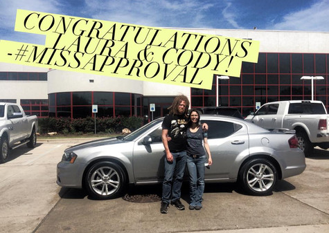 🎉 I AM SO EXCITED to congratulate this lovely couple, Laura & Cody, on the purchase of their 2013 Dodge Avenger! 🎉  Thank you so much, Kat, for trusting me to help Laura!  📲 Message me OR Call/text #MissApproval so we can discuss how easy it is to purchase a vehicle that you'll love