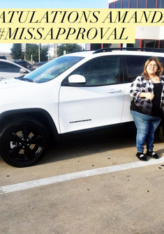 Here's a special shout of #CONGRATULATIONS to Amanda on her brand new, 2018 Jeep Cherokee!   Amanda was stuck in her 2007 Jeep Grand Cherokee from a buy here, pay here and really needed a brand new vehicle!   We worked, worked harder, and then even harder (😂) and #BOOM! We were able to meet Amanda's budget AND trade in her vehicle!   Come see #MissApproval for your next vehicle!