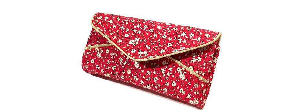Grand portefeuille, porte chéquier, porte monnaie, porte carte - Liberty rouge