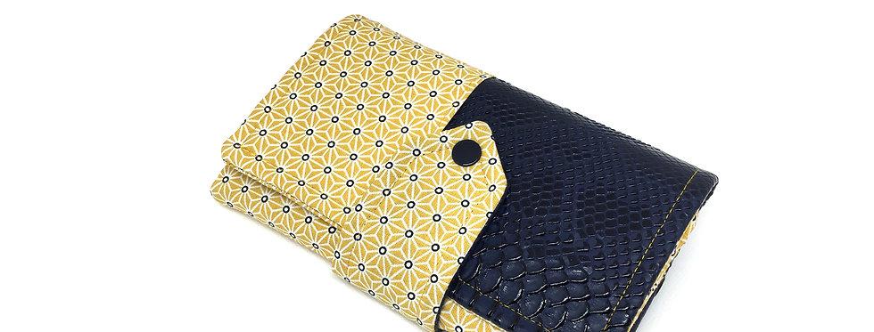 Grand portefeuille, porte chéquier, porte monnaie, porte carte - Asanoha & cuir
