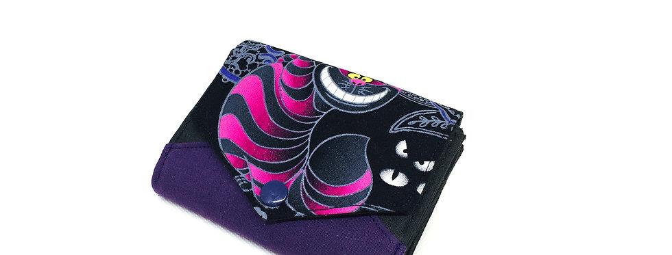 RESERVE ! Petit portefeuille femme, porte carte, monnaie - Chat du cheshire