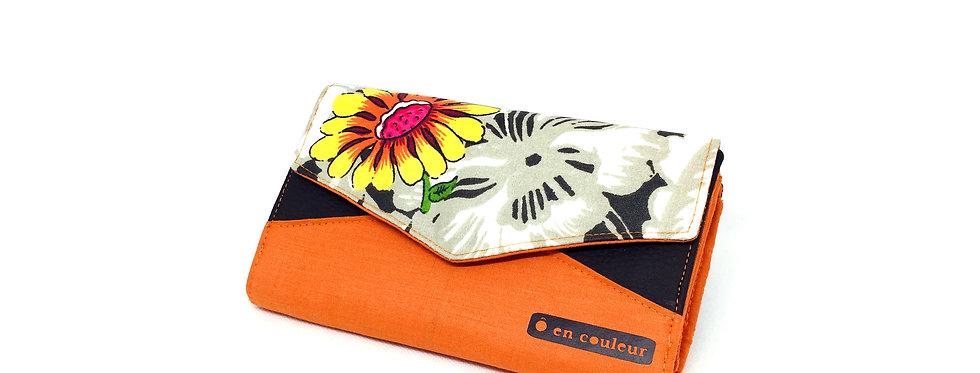 Grand portefeuille, porte chéquier, porte monnaie, carte - Orange flower