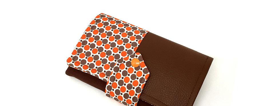 Grand portefeuille cuir, porte chéquier, porte monnaie, carte - Orangé & cuir