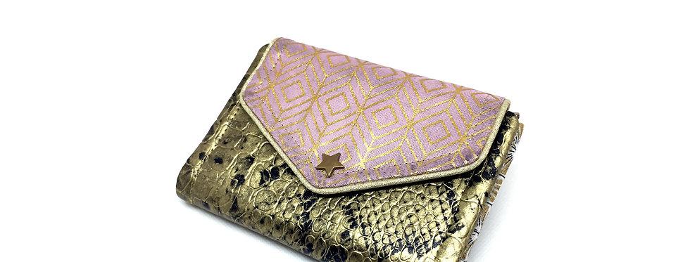 Petit portefeuille cuir, portefeuille femme, porte monnaie, carte - Losange d'or