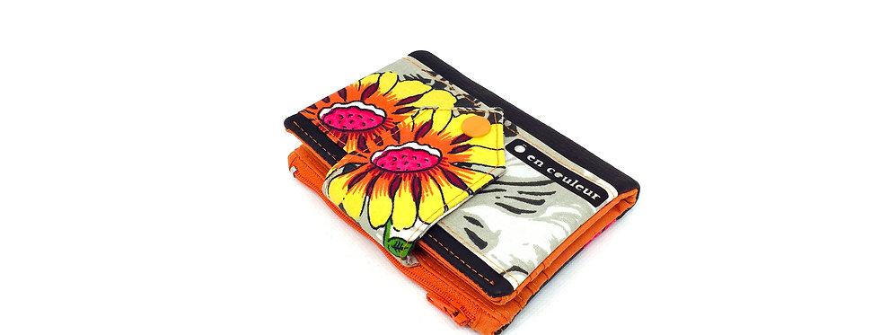 Petit portefeuille avec porte monnaie et porte carte - Orange flower