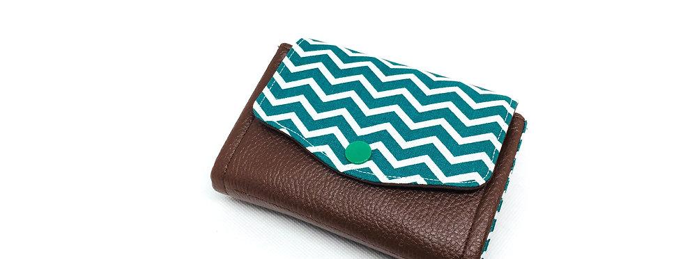 Petit portefeuille, portefeuille femme, porte monnaie, porte carte- Chevron vert