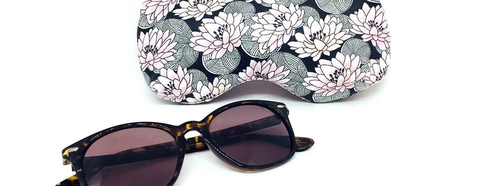 Etui à lunettes de soleil ou vue, pochette zippée, protection lunettes- Nénuphar