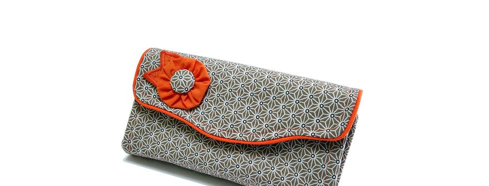 Grand portefeuille, porte chéquier, porte monnaie, porte carte - Asanoha orange