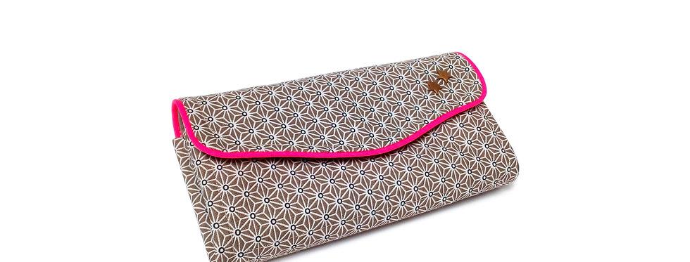 Grand portefeuille, porte chéquier, porte monnaie, porte carte - Asanoha pink