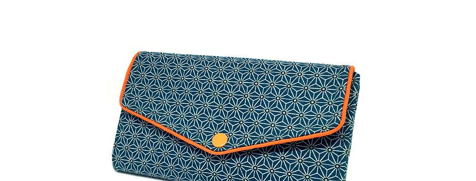 Grand portefeuille, porte chéquier, porte monnaie, porte carte - Asanoha bleu